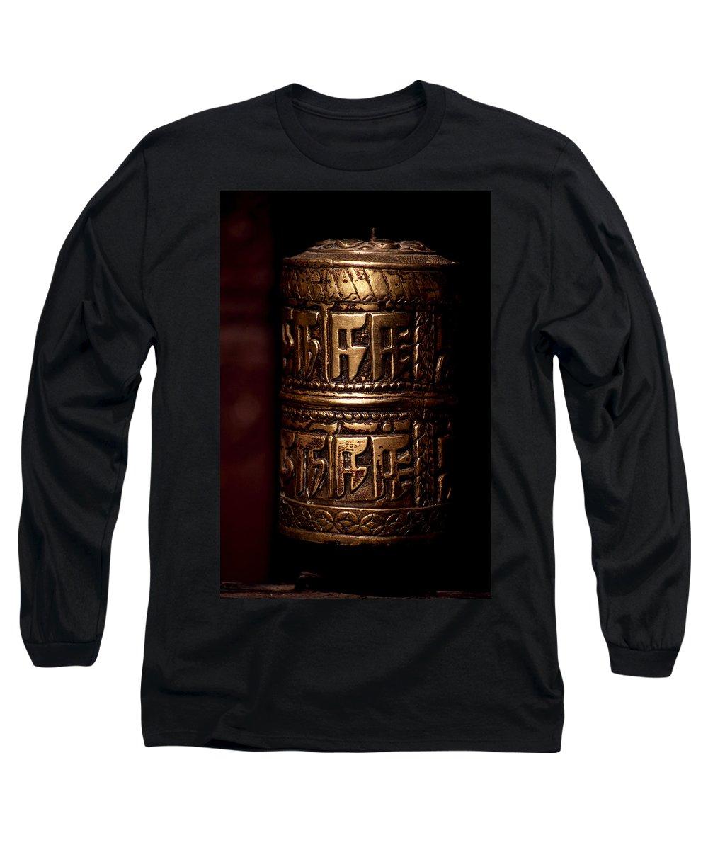 Prayer Wheel Long Sleeve T-Shirt featuring the photograph Tibetan Prayer Wheel by Patrick Klauss