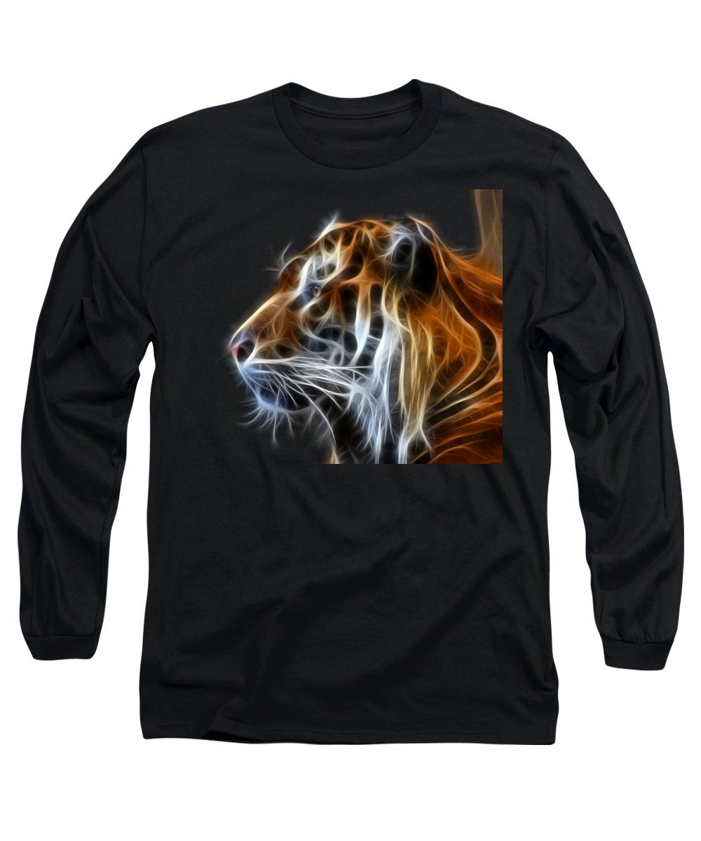 Tiger Long Sleeve T-Shirt featuring the photograph Tiger Fractal by Shane Bechler