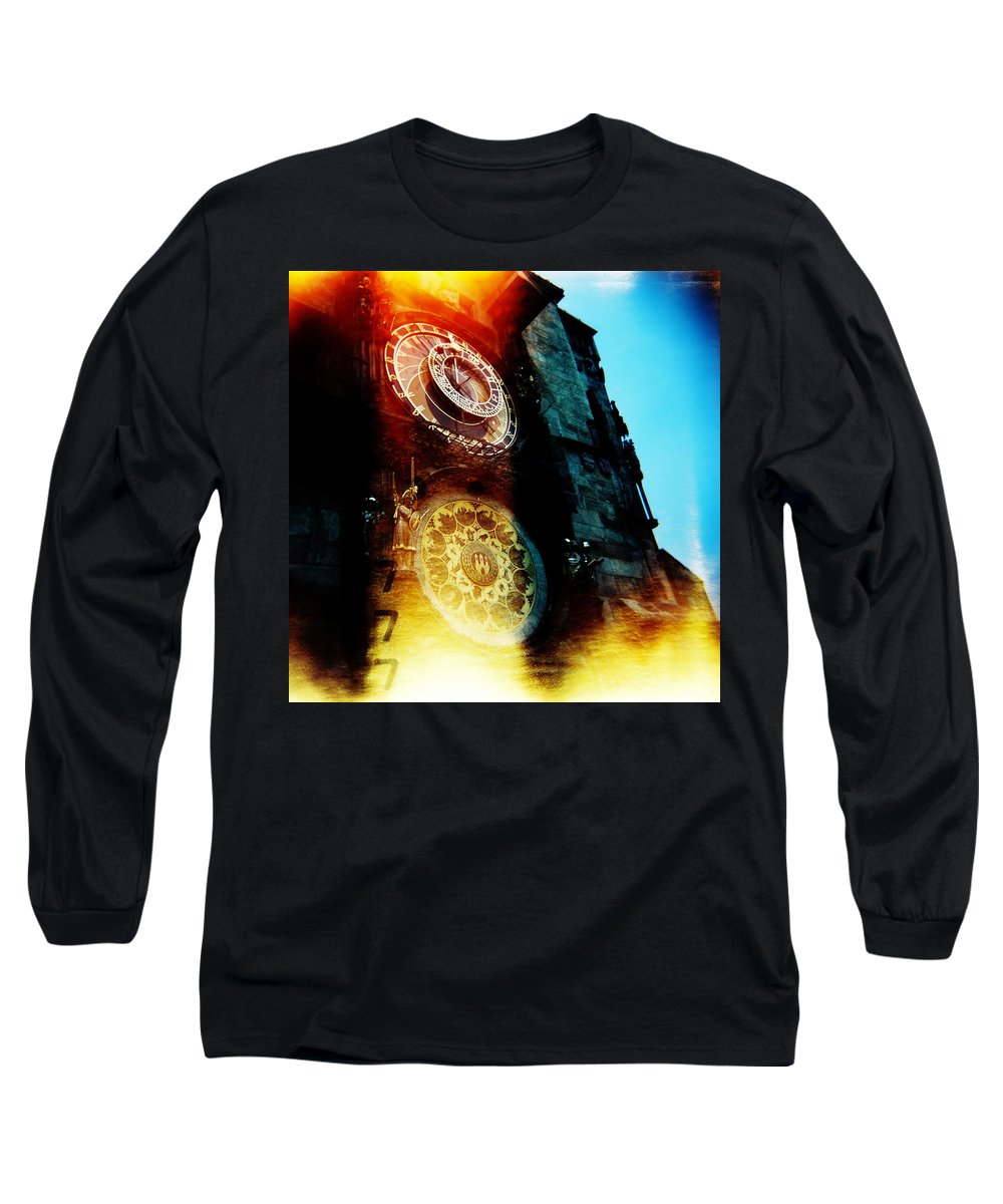 Clock Time Holga Color Photograph Praha Long Sleeve T-Shirt featuring the photograph Time Is Burning by Olivier De Rycke