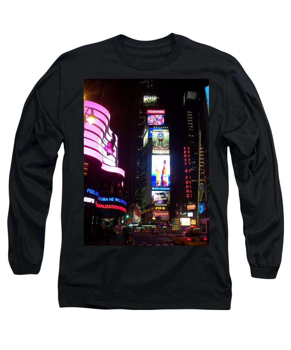 Times Square Long Sleeve T-Shirt featuring the photograph Times Square 1 by Anita Burgermeister