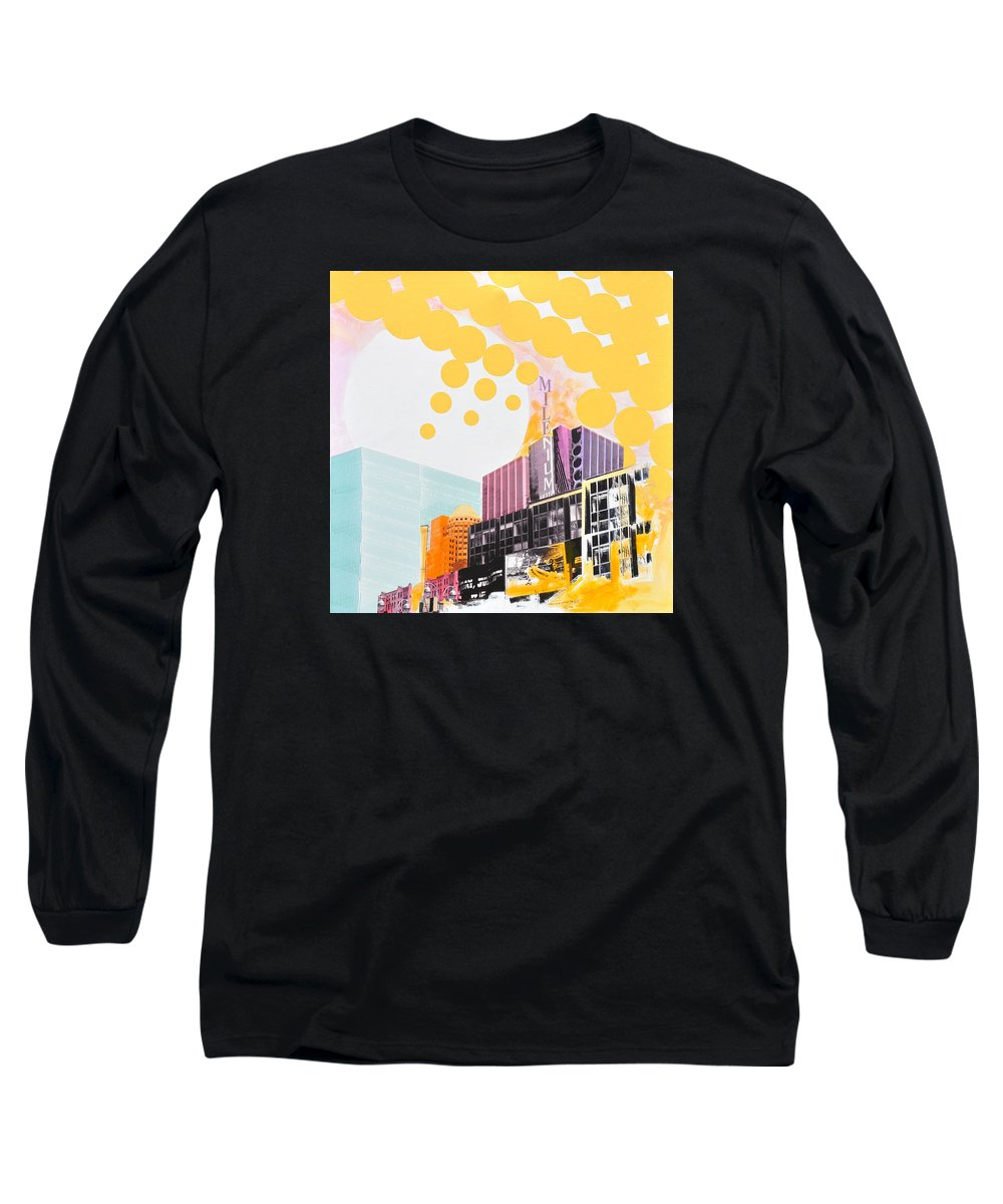 Ny Long Sleeve T-Shirt featuring the painting Times Square Milenium Hotel by Jean Pierre Rousselet