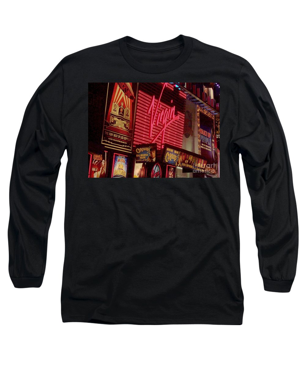 Times Square Long Sleeve T-Shirt featuring the photograph Times Square Night by Debbi Granruth