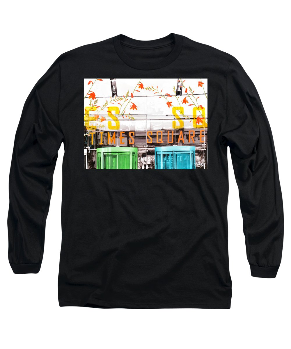 Ny Long Sleeve T-Shirt featuring the painting Times Square Tower by Jean Pierre Rousselet