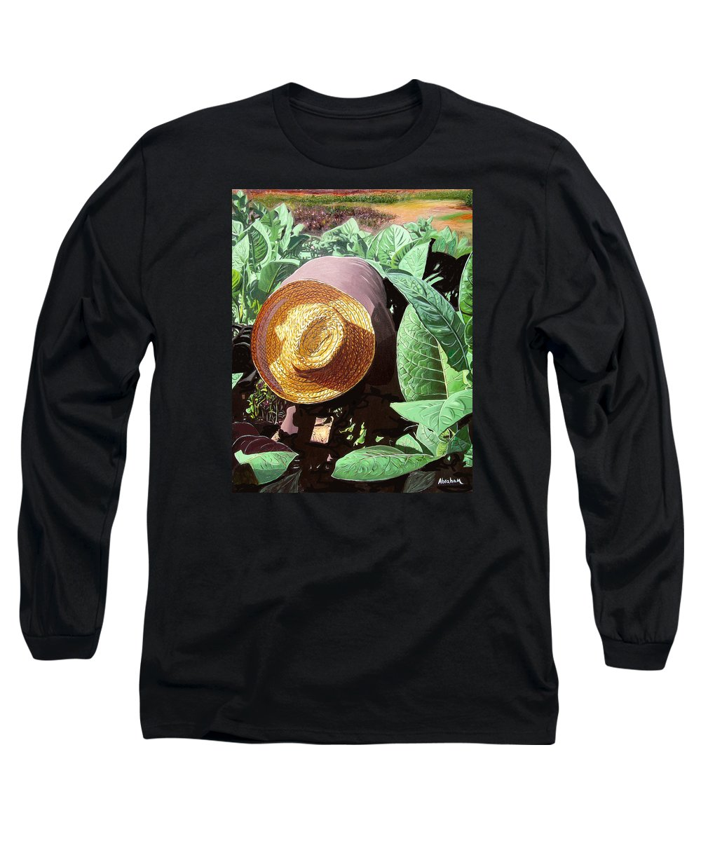 Tobacco Long Sleeve T-Shirt featuring the painting Tobacco Picker by Jose Manuel Abraham