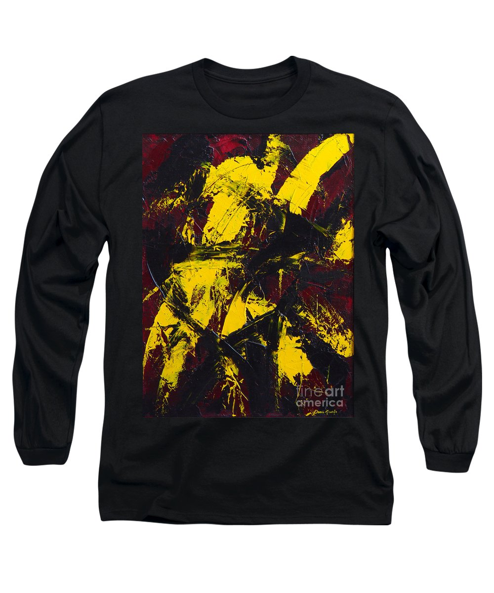 Abstract Long Sleeve T-Shirt featuring the painting Transitions With Yelllow And Black by Dean Triolo