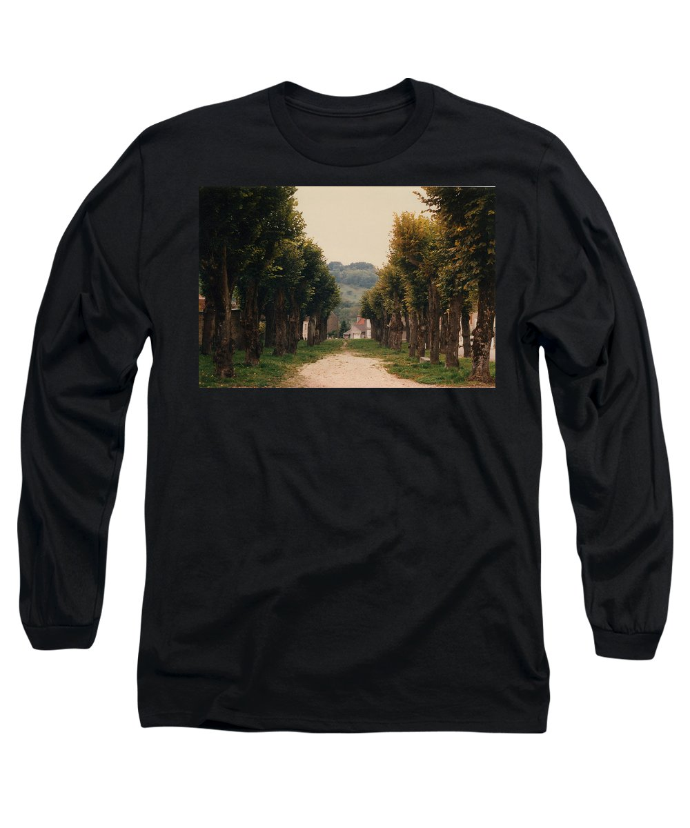 Trees Long Sleeve T-Shirt featuring the photograph Tree Lined Pathway In Lyon France by Nancy Mueller