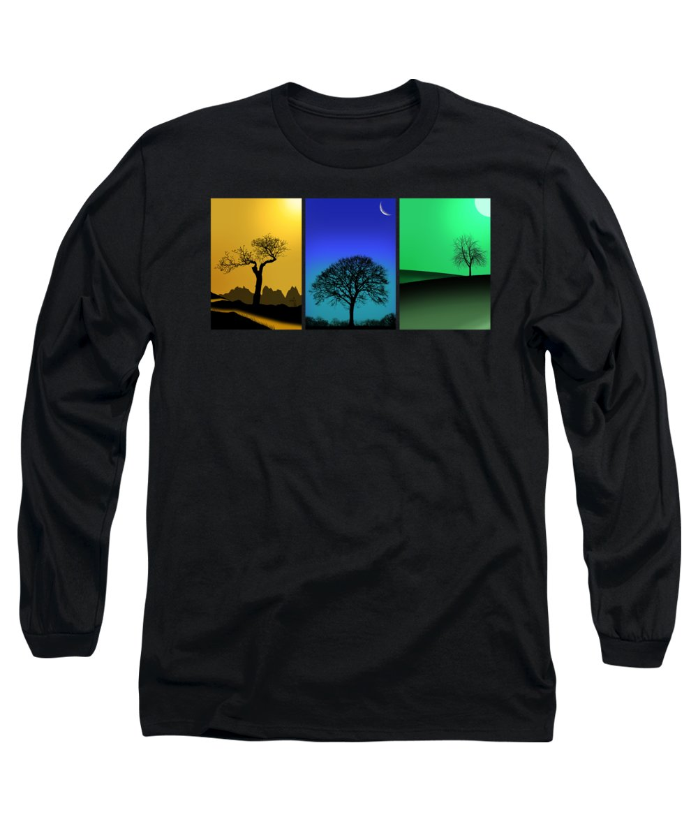 Tree Triptych Long Sleeve T-Shirt featuring the photograph Tree Triptych by Mark Rogan