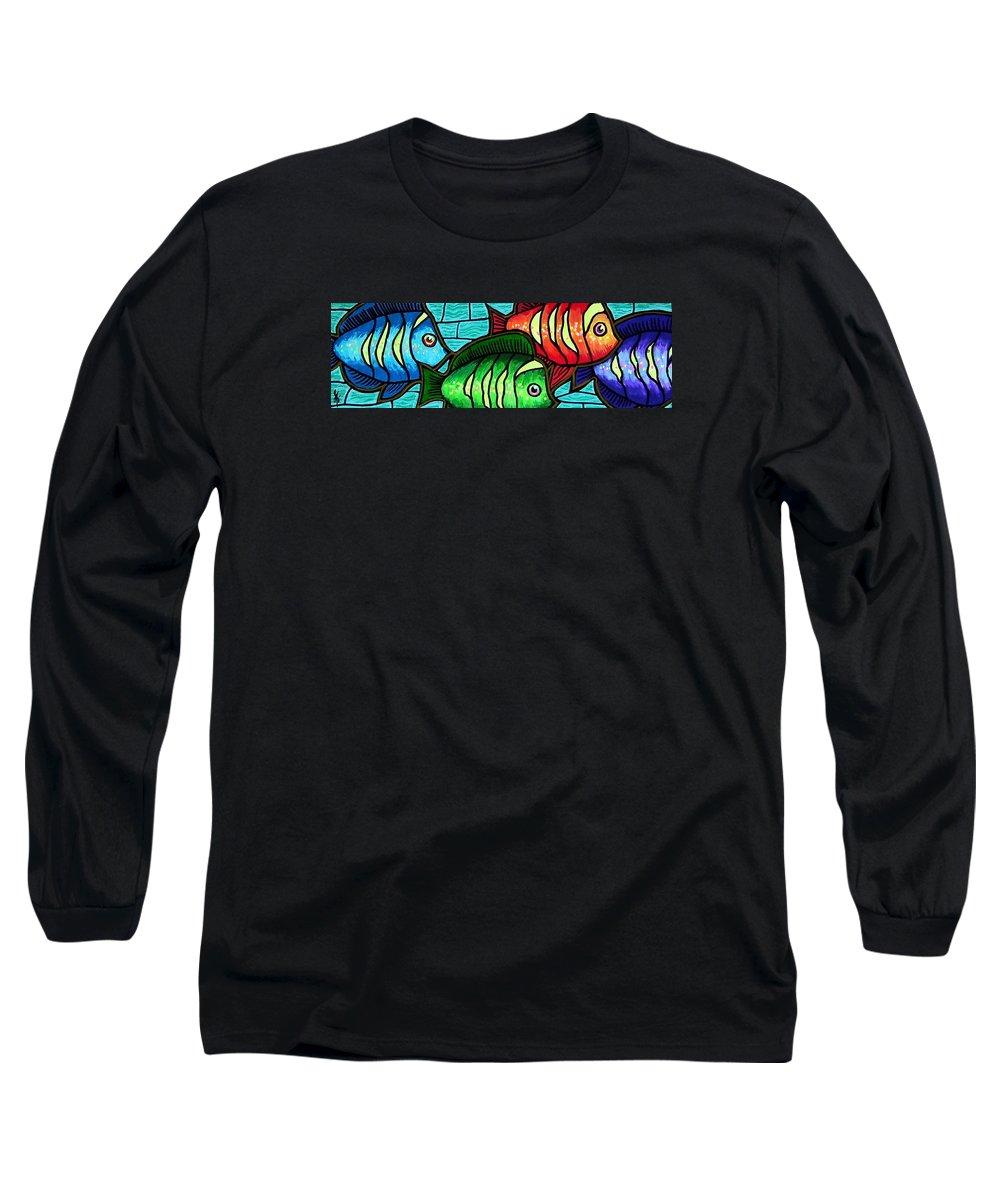 Tropics Long Sleeve T-Shirt featuring the painting Tropic Swim by Jim Harris