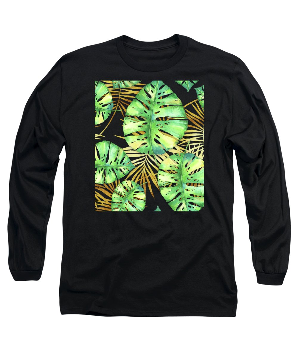 Gold Long Sleeve T-Shirt featuring the painting Tropical Haze Noir Variegated Monstera Leaves, Golden Palm Fronds On Black by Tina Lavoie