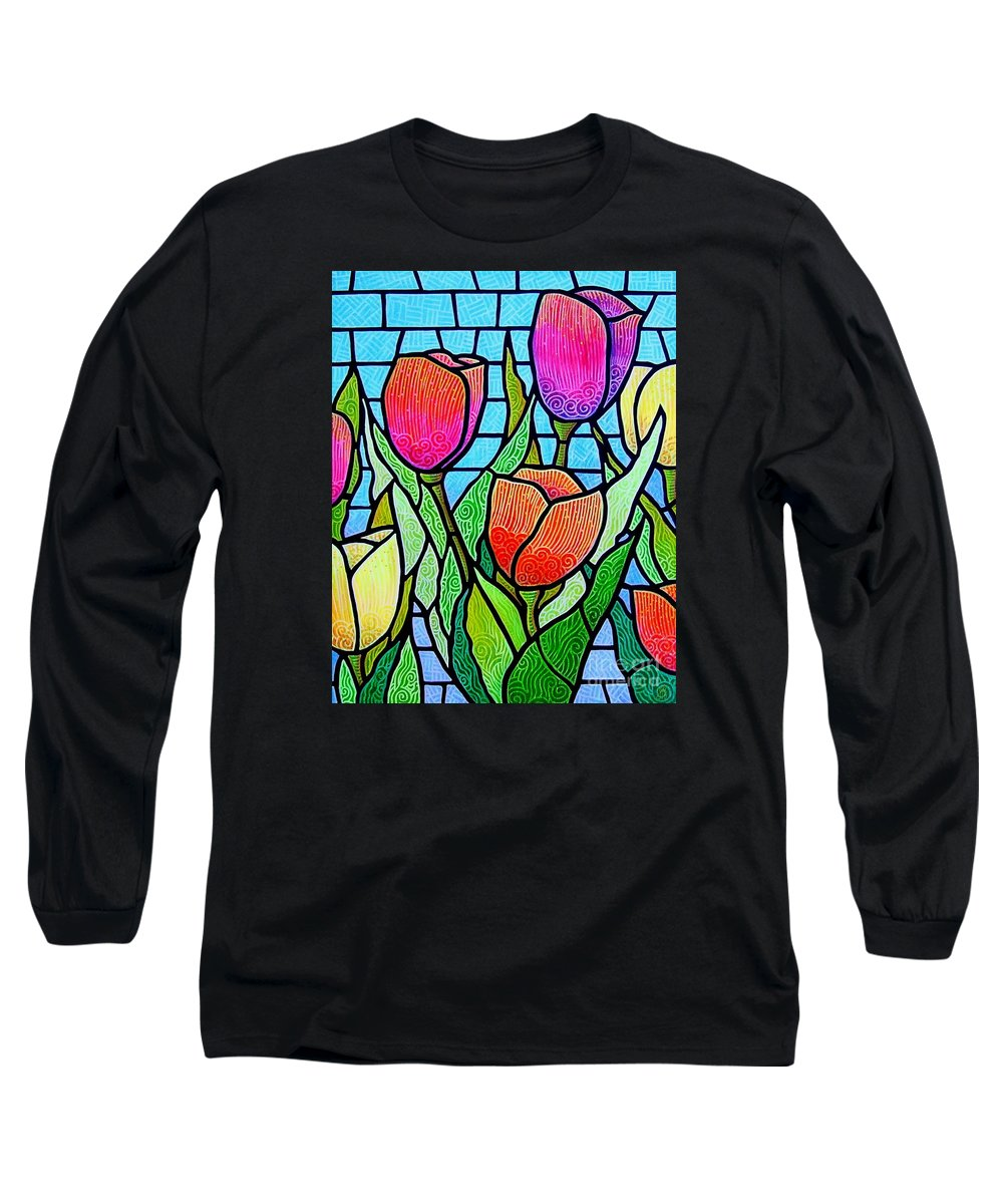 Tulips Long Sleeve T-Shirt featuring the painting Tulip Garden by Jim Harris