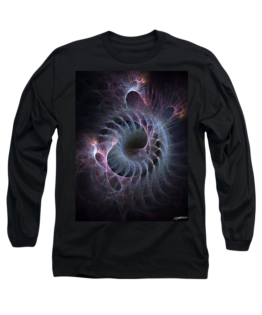 Abstract Long Sleeve T-Shirt featuring the digital art Turbination by Casey Kotas