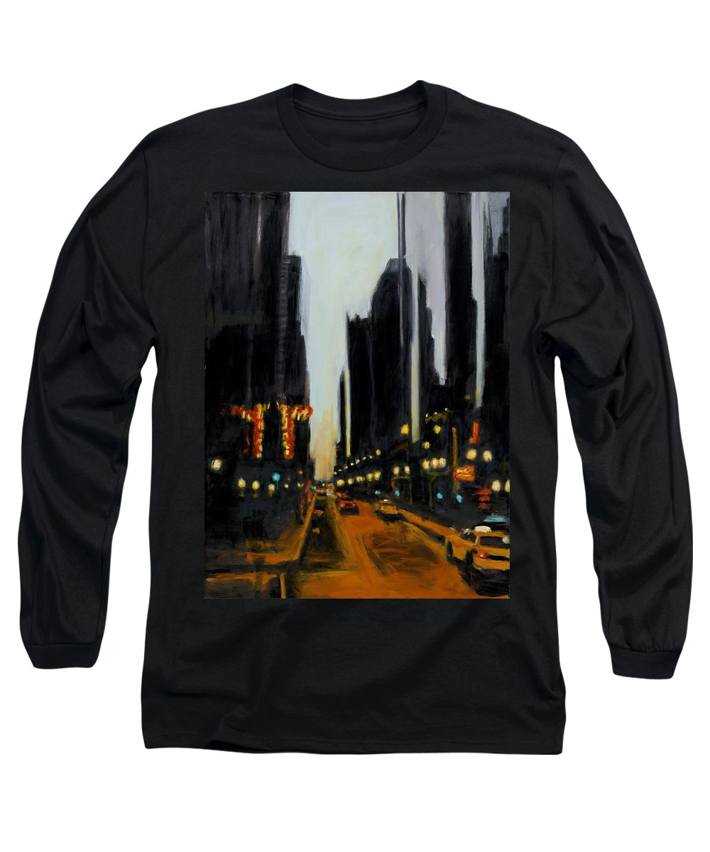Rob Reeves Long Sleeve T-Shirt featuring the painting Twilight In Chicago by Robert Reeves
