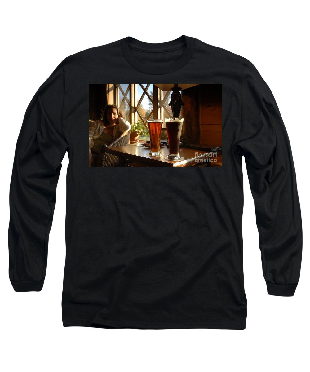 Beer Long Sleeve T-Shirt featuring the photograph Two Beers At The Lodge by David Lee Thompson