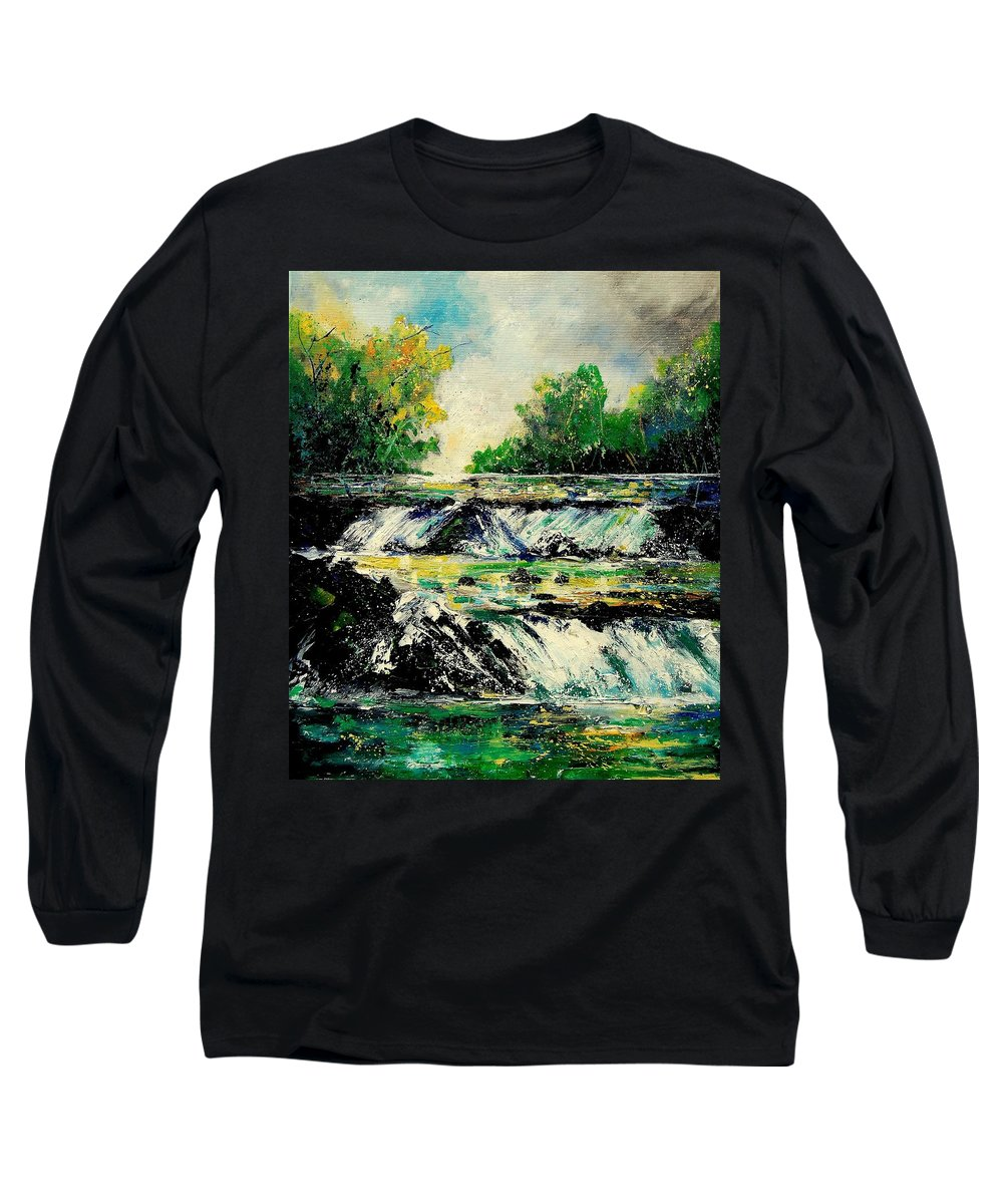 River Long Sleeve T-Shirt featuring the painting Two Falls by Pol Ledent