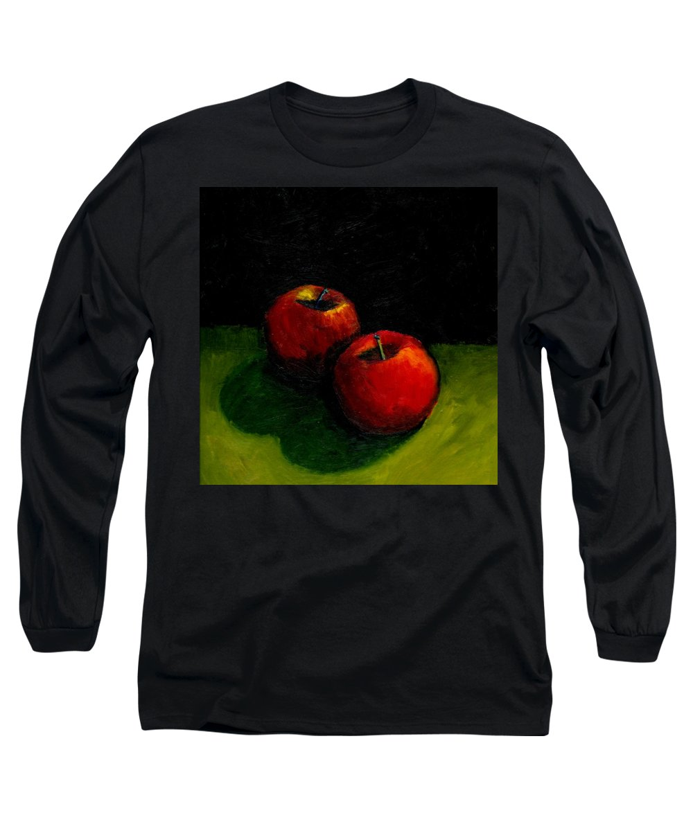Red Long Sleeve T-Shirt featuring the painting Two Red Apples Still Life by Michelle Calkins