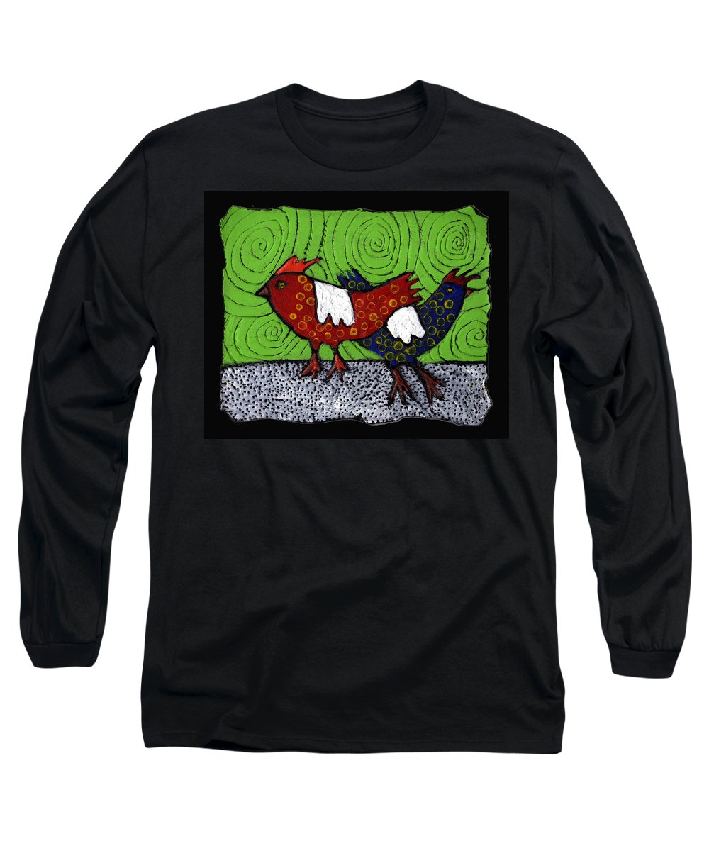 Chickens Long Sleeve T-Shirt featuring the painting Two Roosters by Wayne Potrafka