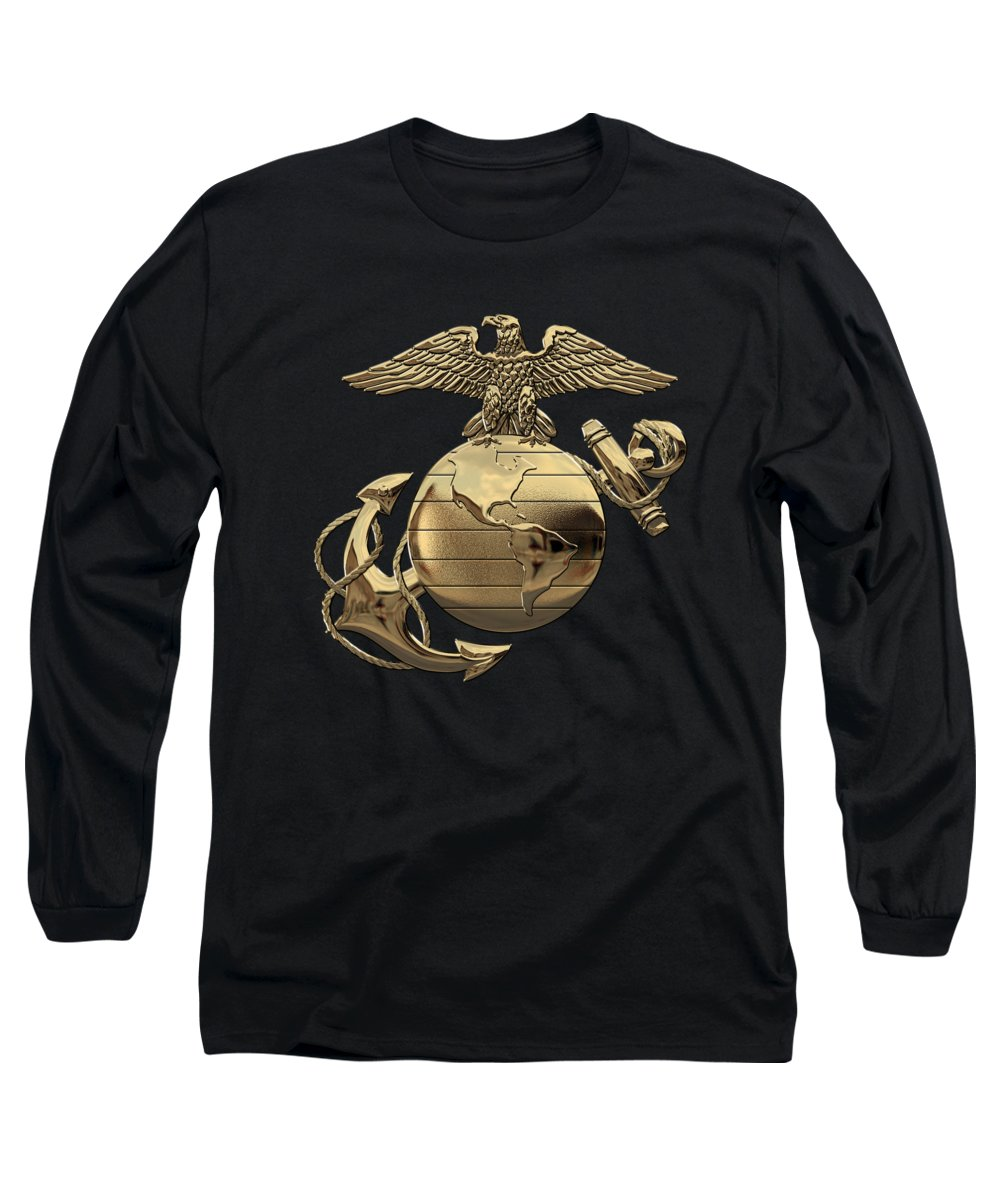 'usmc' Collection By Serge Averbukh Long Sleeve T-Shirt featuring the digital art U S M C Eagle Globe And Anchor - N C O And Enlisted E G A Over Black Velvet by Serge Averbukh