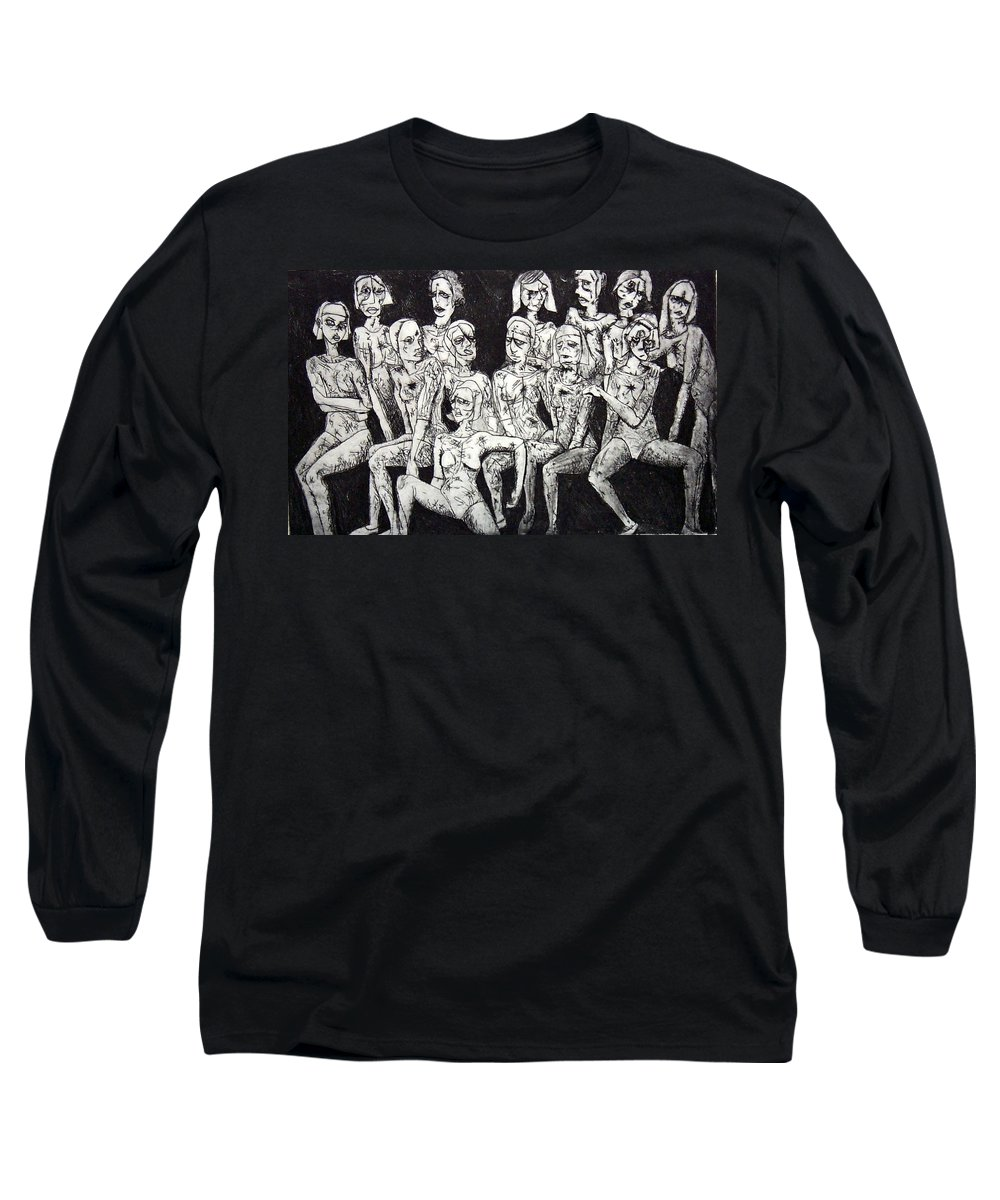 Etching Long Sleeve T-Shirt featuring the print Ugly Girls by Thomas Valentine