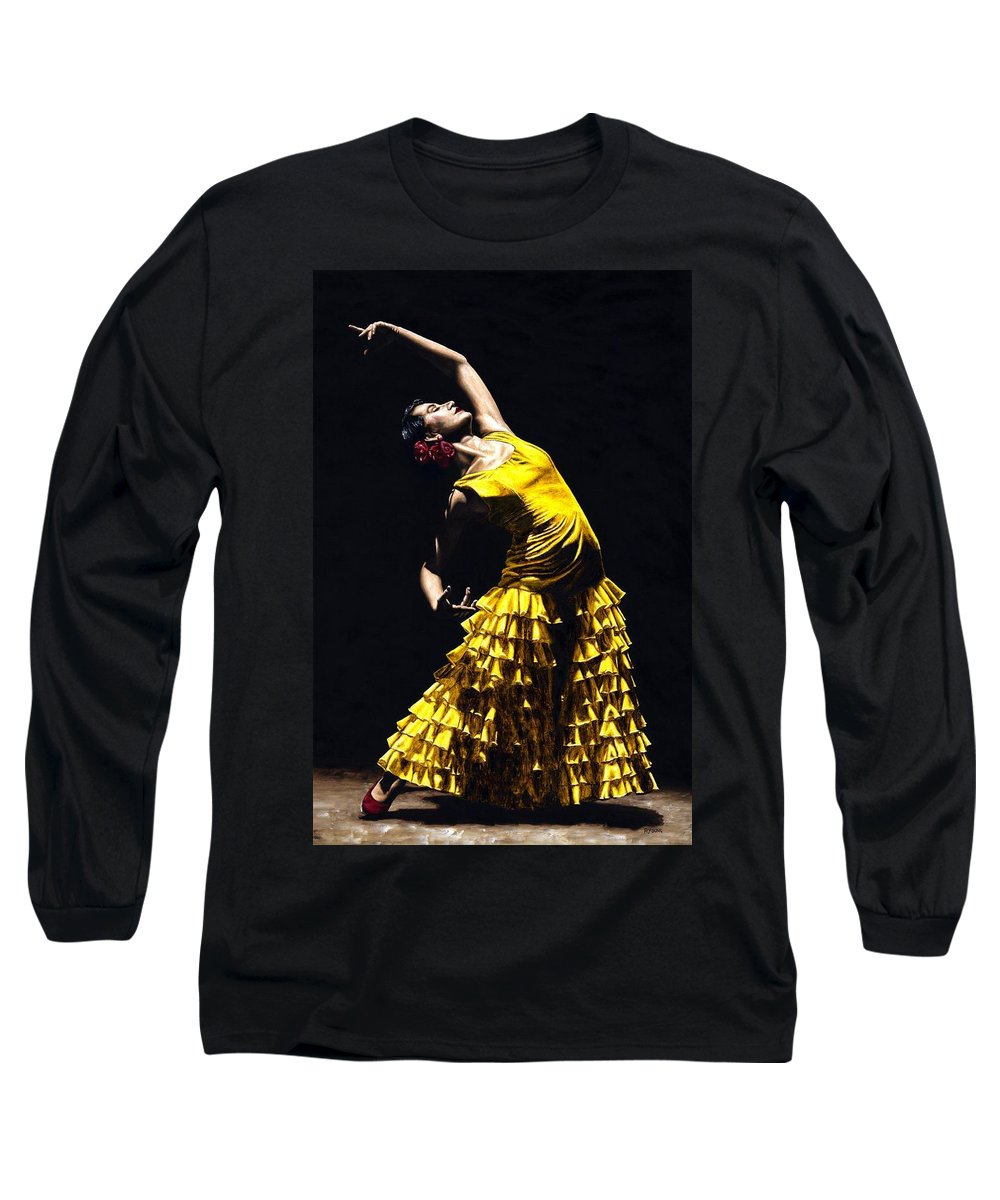 Flamenco Long Sleeve T-Shirt featuring the painting Un Momento Intenso Del Flamenco by Richard Young