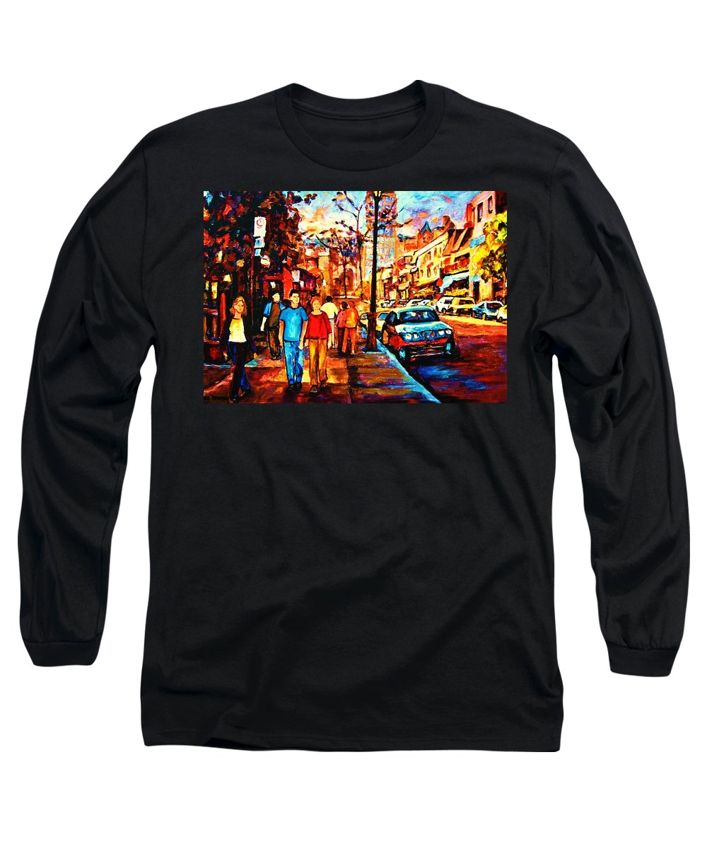 Montrealstreetscene Long Sleeve T-Shirt featuring the painting Under A Crescent Moon by Carole Spandau