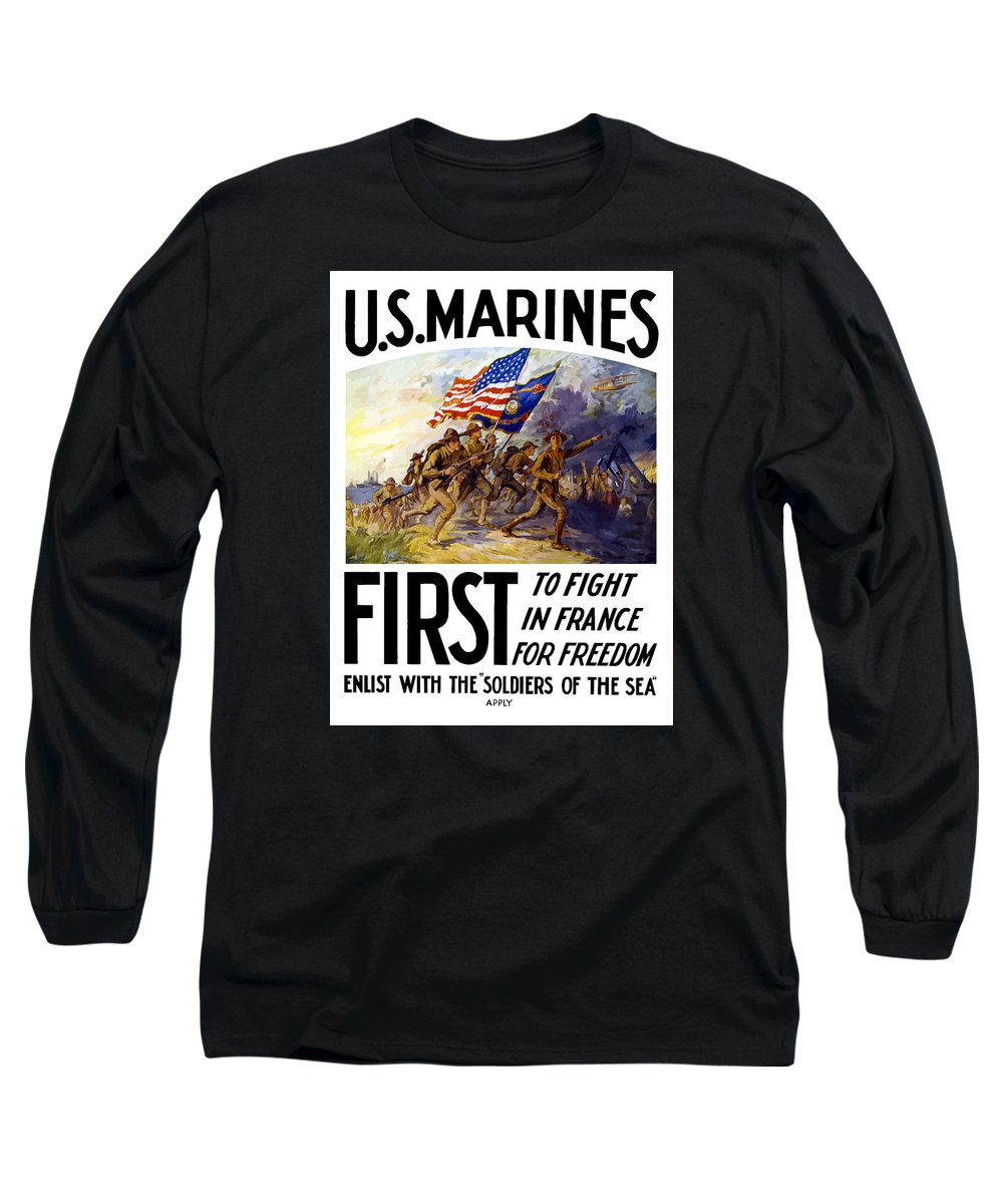 Marines Long Sleeve T-Shirt featuring the painting Us Marines - First To Fight In France by War Is Hell Store
