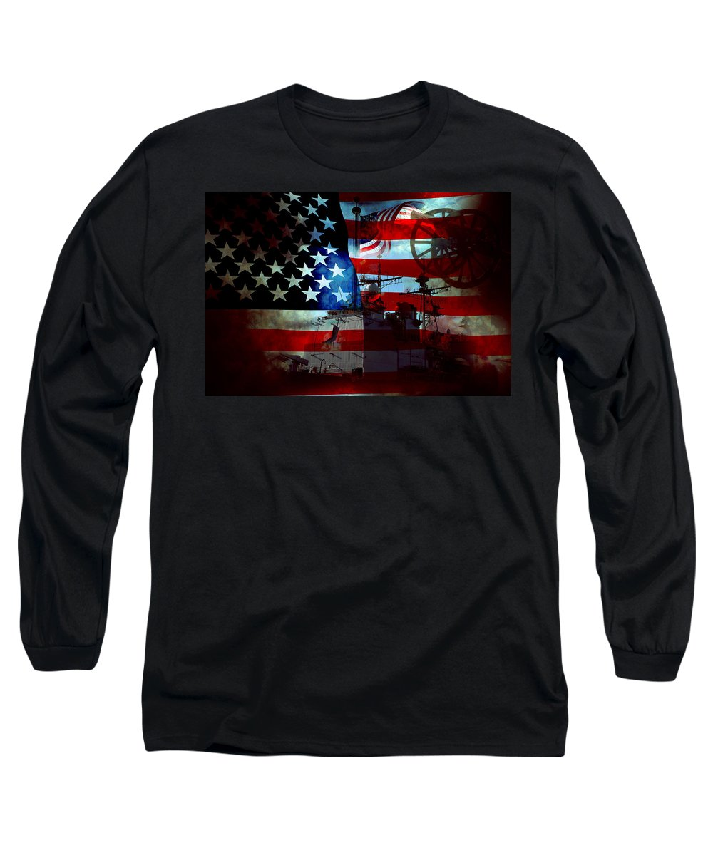 War Long Sleeve T-Shirt featuring the photograph Usa Patriot Flag And War by Phill Petrovic