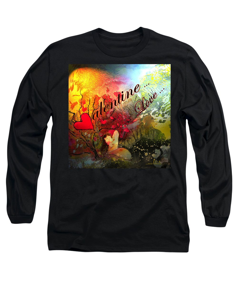 Valentine Long Sleeve T-Shirt featuring the painting Valentine by Miki De Goodaboom