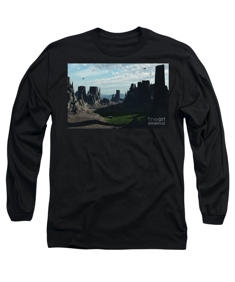 Valley Long Sleeve T-Shirt featuring the digital art Valley Of The Kings by Richard Rizzo