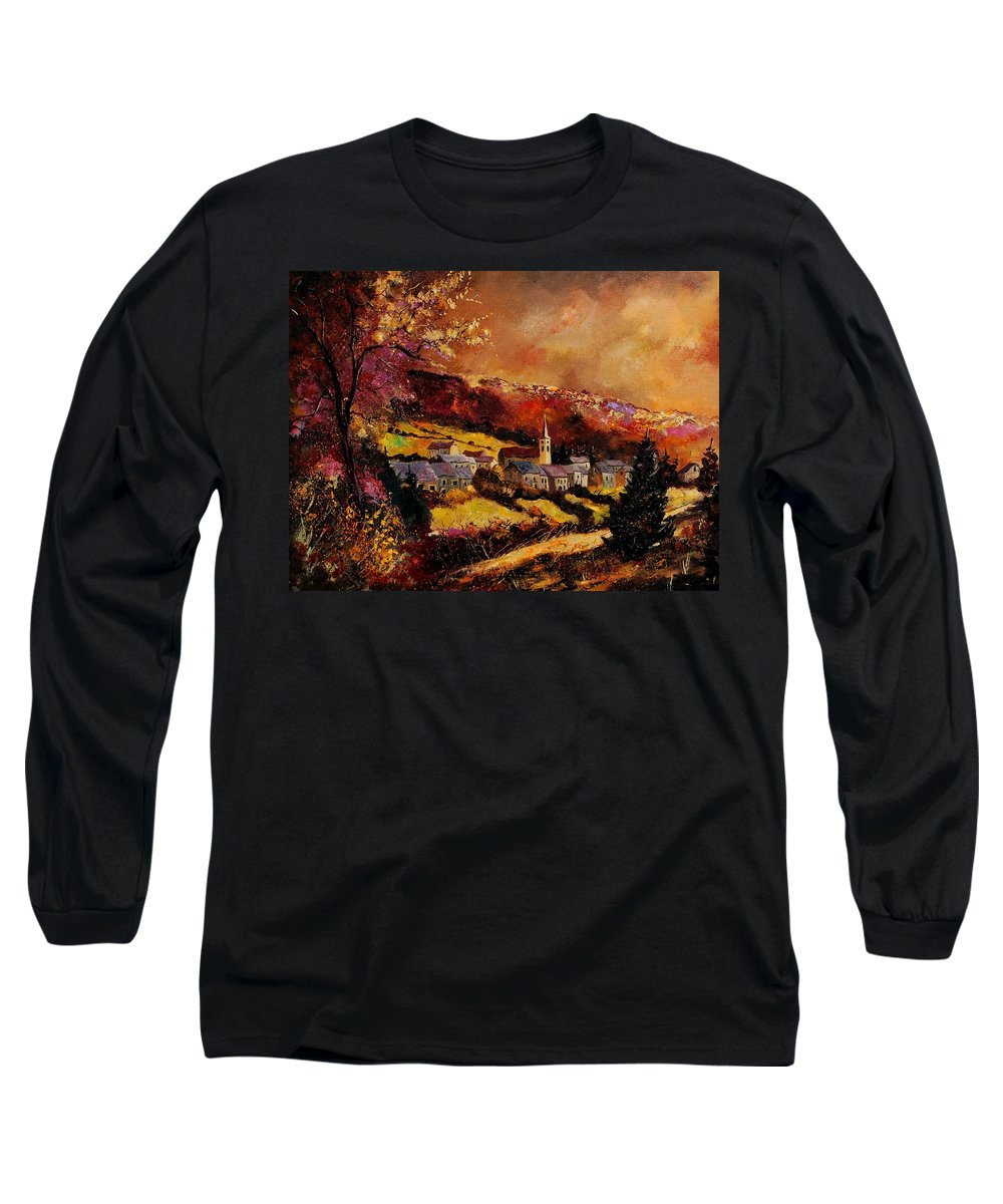 River Long Sleeve T-Shirt featuring the painting Vencimont Village Ardennes by Pol Ledent