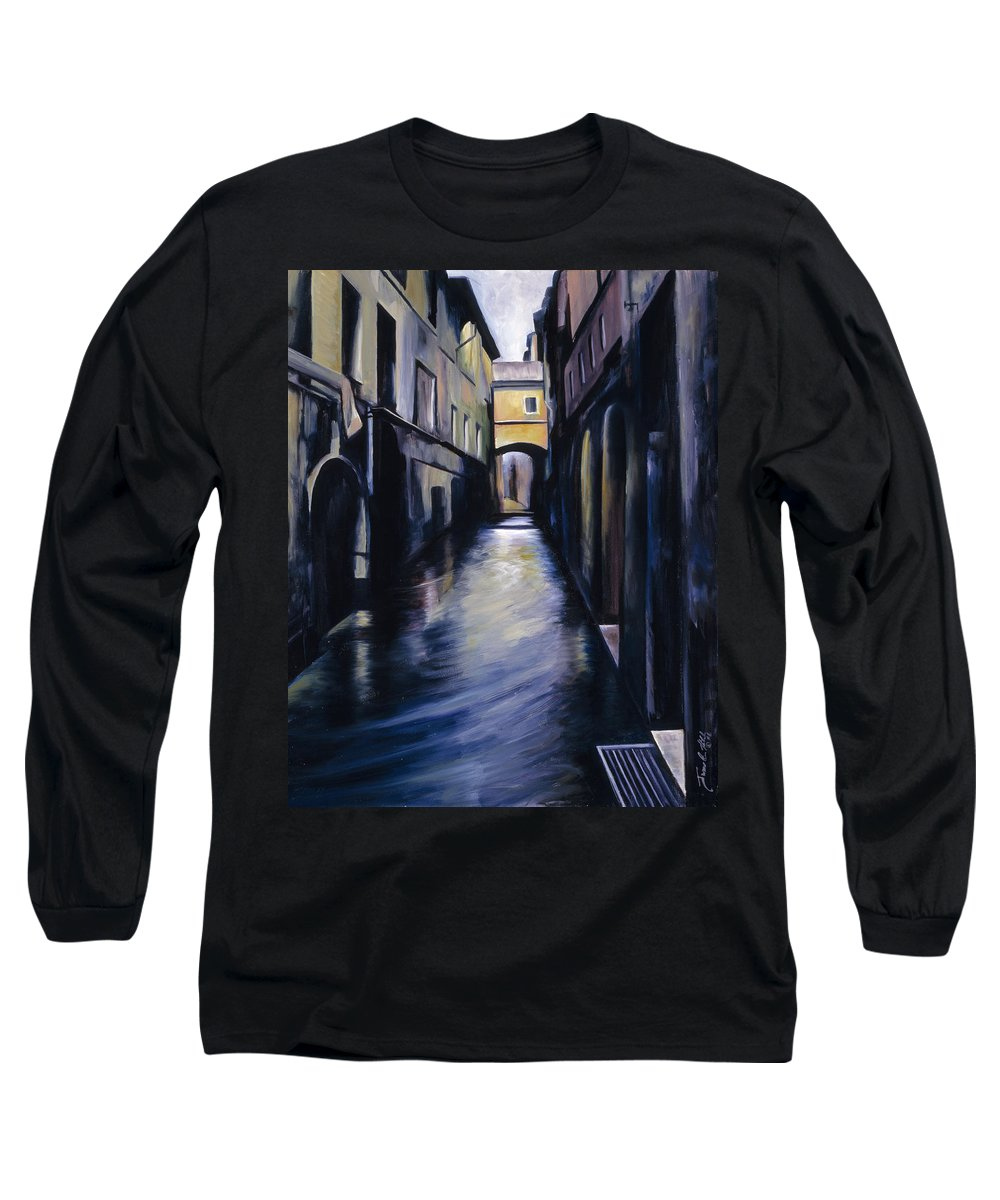 Street; Canal; Venice ; Desert; Abandoned; Delapidated; Lost; Highway; Route 66; Road; Vacancy; Run-down; Building; Old Signage; Nastalgia; Vintage; James Christopher Hill; Jameshillgallery.com; Foliage; Sky; Realism; Oils Long Sleeve T-Shirt featuring the painting Venice by James Christopher Hill