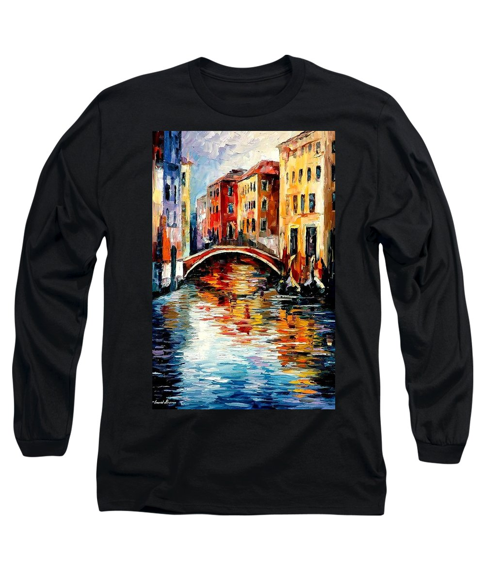 Landscape Long Sleeve T-Shirt featuring the painting Venice by Leonid Afremov