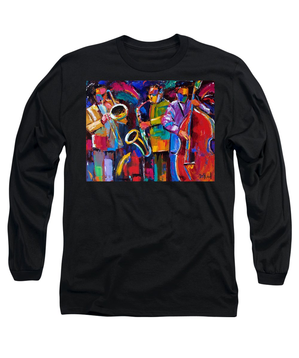 Jazz Long Sleeve T-Shirt featuring the painting Vibrant Jazz by Debra Hurd