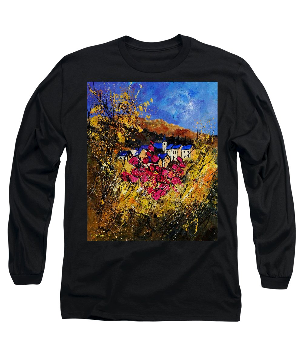 Flowers Long Sleeve T-Shirt featuring the painting Village 450808 by Pol Ledent