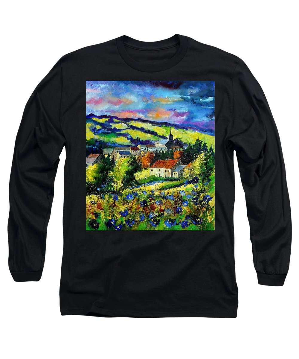 Landscape Long Sleeve T-Shirt featuring the painting Village And Blue Poppies by Pol Ledent