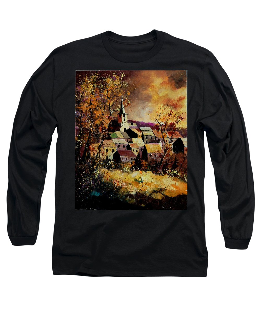 River Long Sleeve T-Shirt featuring the painting Village In Fall by Pol Ledent
