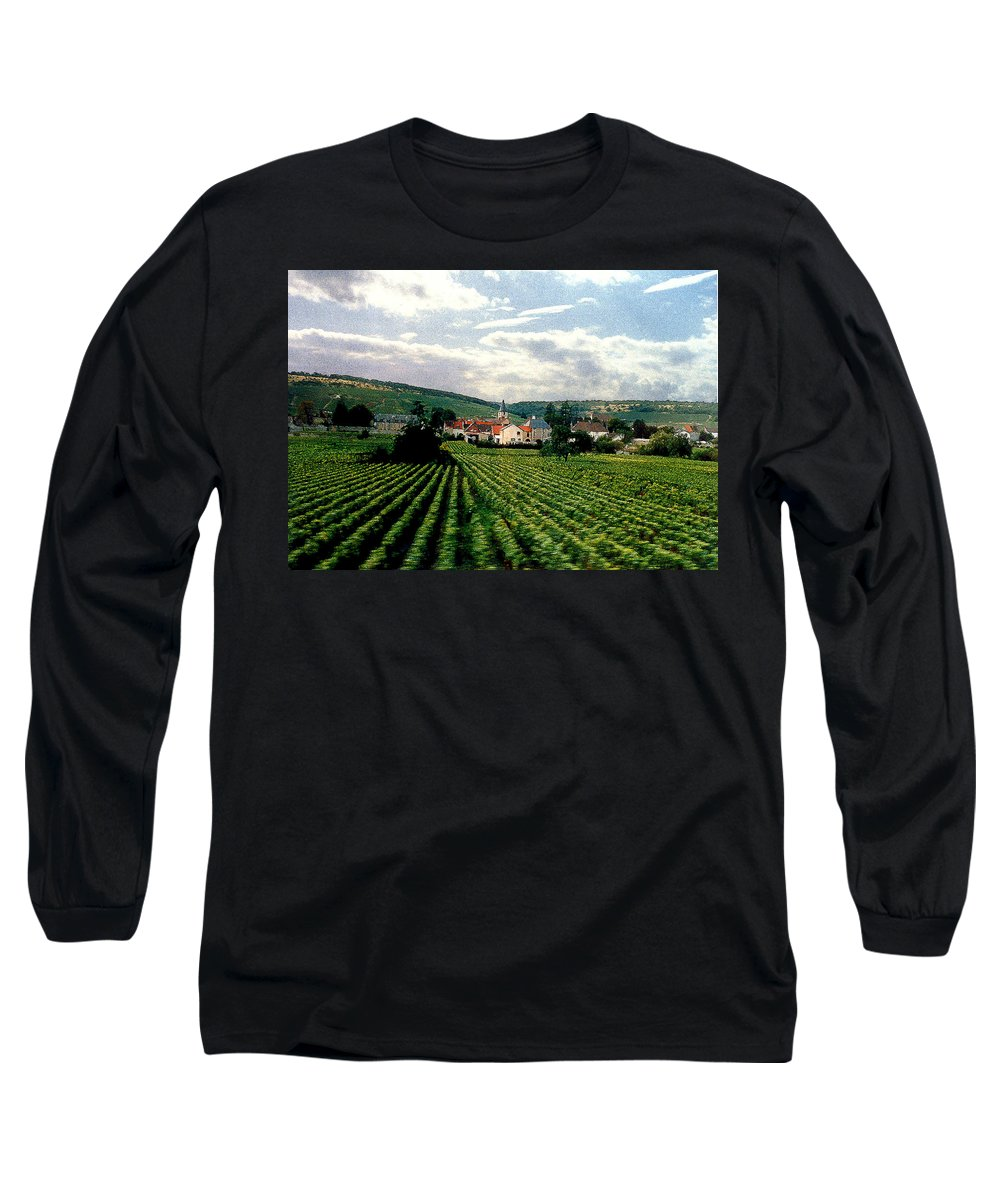 Vineyards Long Sleeve T-Shirt featuring the photograph Village In The Vineyards Of France by Nancy Mueller