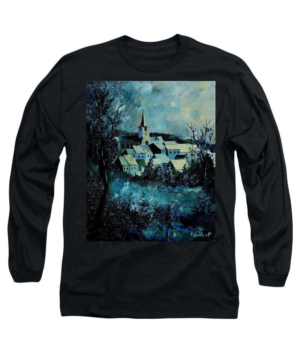 River Long Sleeve T-Shirt featuring the painting Village In Winter by Pol Ledent