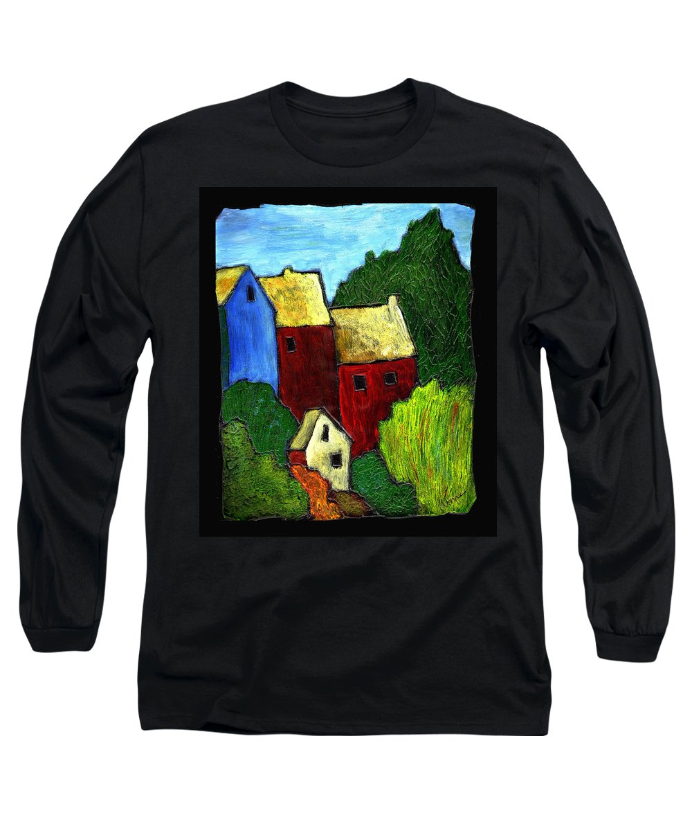 Village Long Sleeve T-Shirt featuring the painting Village Scene by Wayne Potrafka