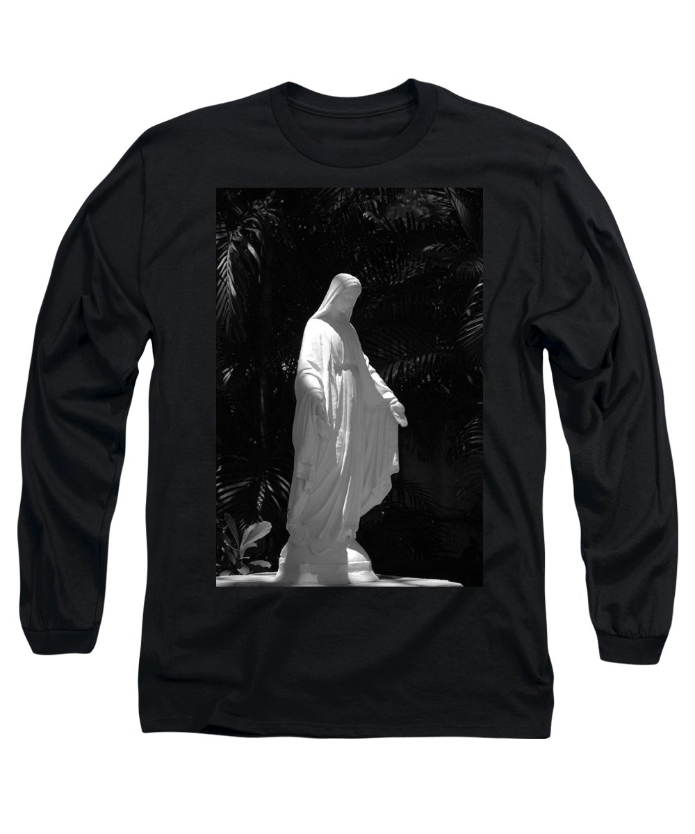 Black And White Long Sleeve T-Shirt featuring the photograph Virgin Mary In Black And White by Rob Hans