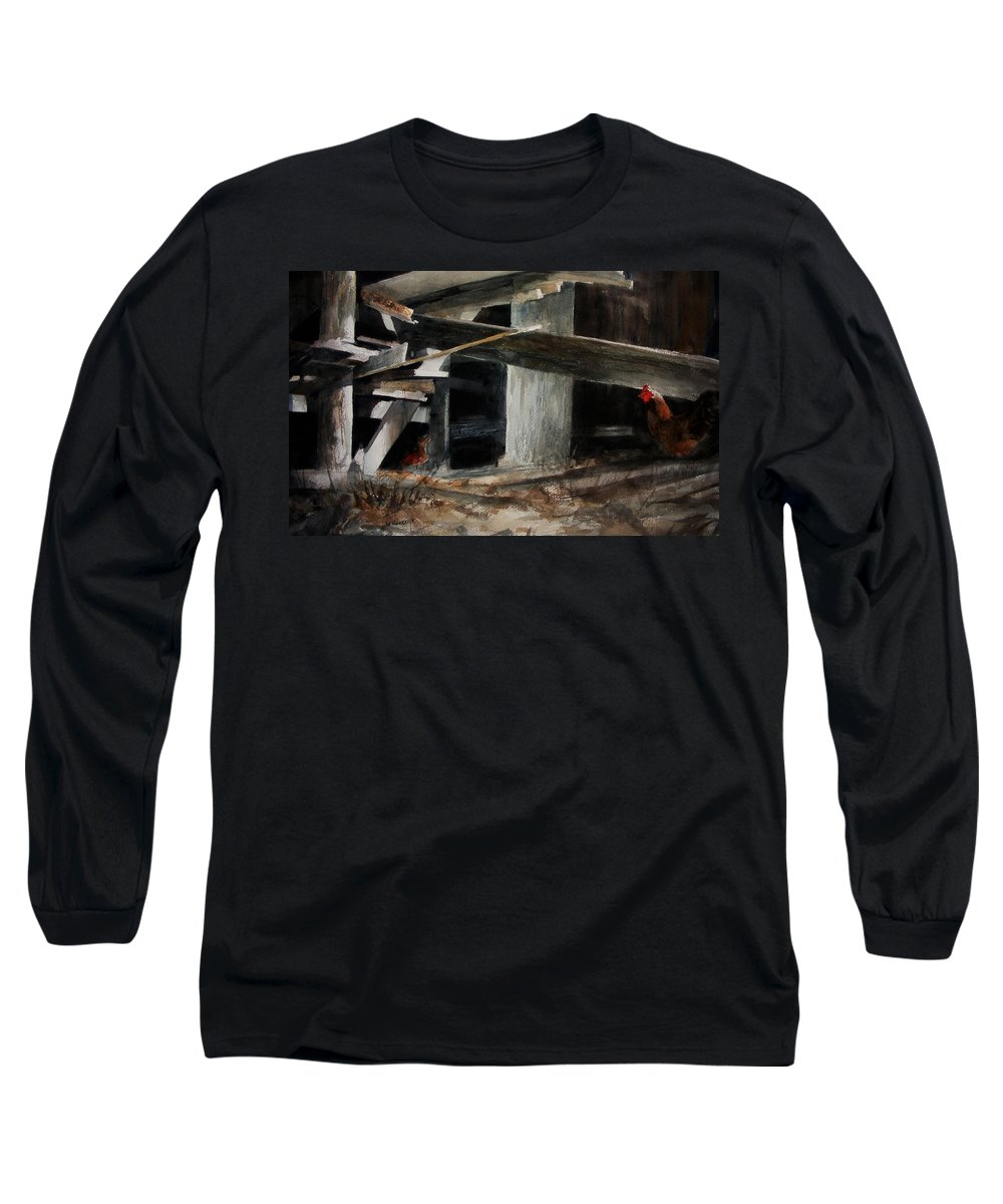 Landscape Long Sleeve T-Shirt featuring the painting Wakeup Call by Rachel Christine Nowicki