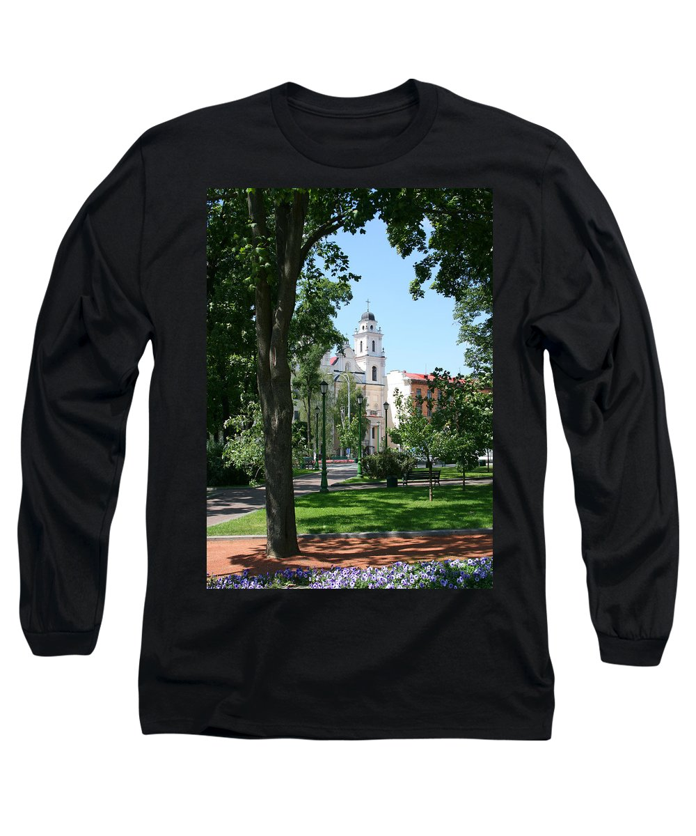Park City Tree Trees Flowers Church Building Summer Blue Sky Green Walk Bench Long Sleeve T-Shirt featuring the photograph Walk In The Park by Andrei Shliakhau