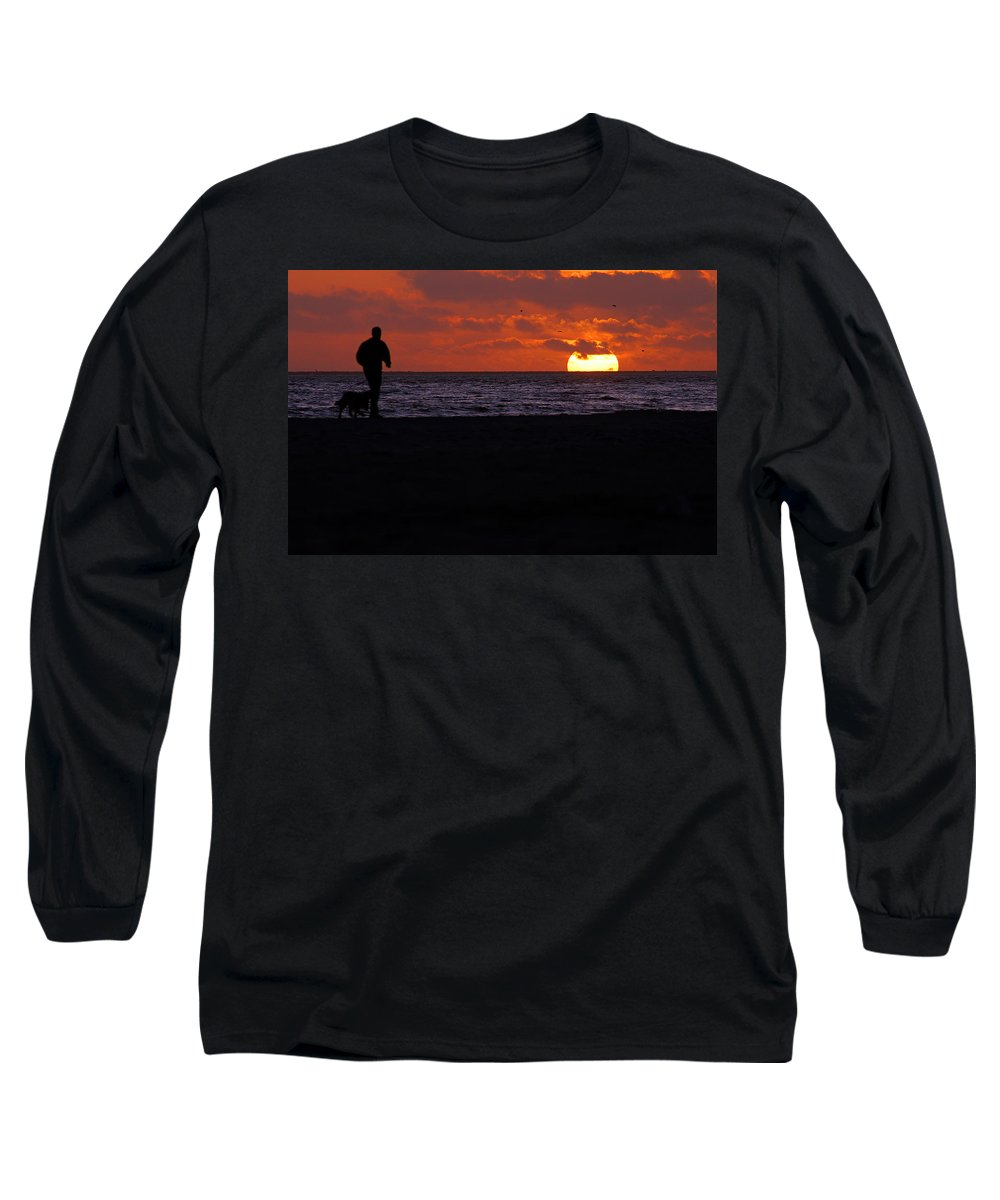 Clay Long Sleeve T-Shirt featuring the photograph Walking The Dog by Clayton Bruster