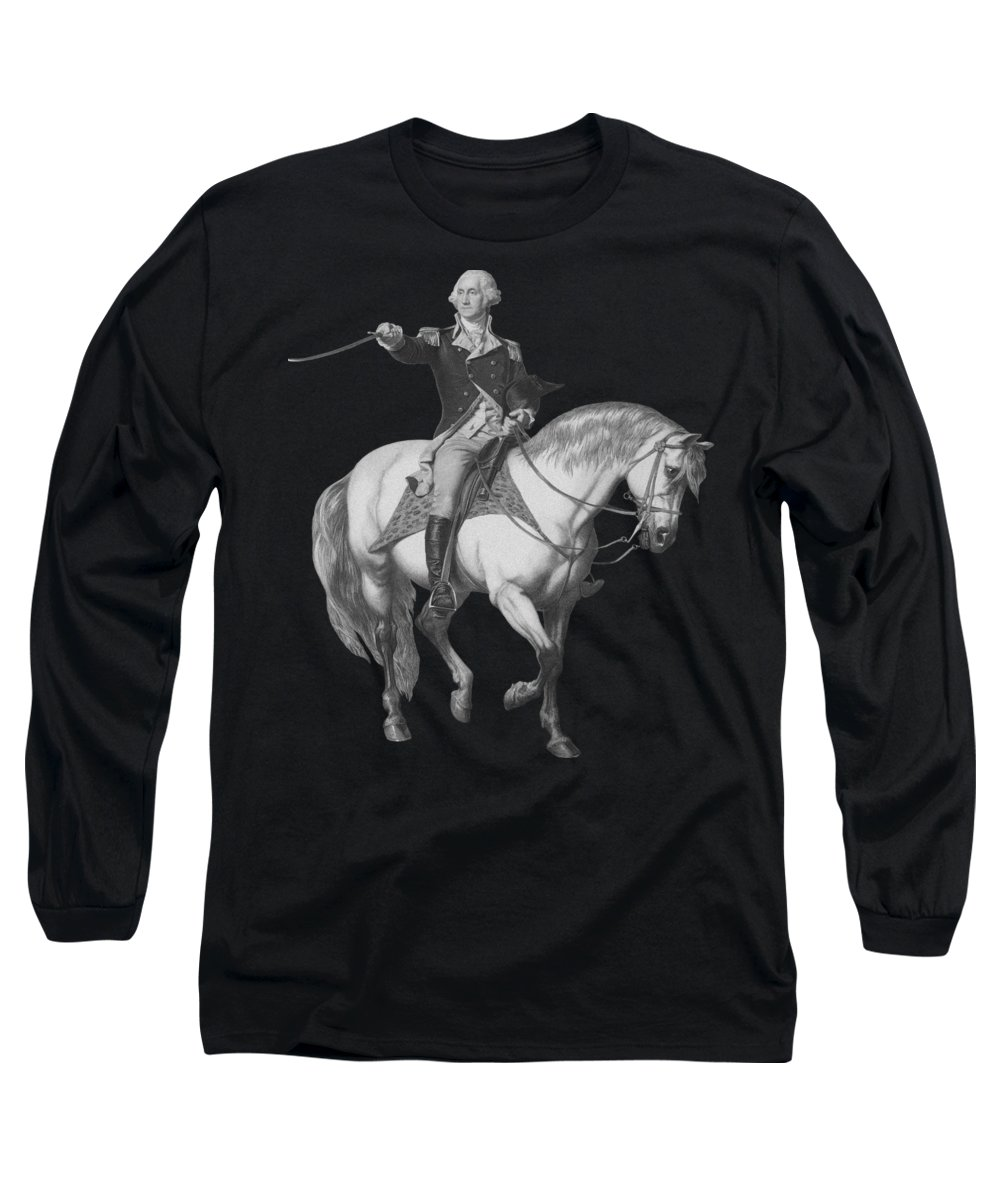 American Revolution Long Sleeve T-Shirt featuring the mixed media Washington Receiving A Salute At Trenton by War Is Hell Store