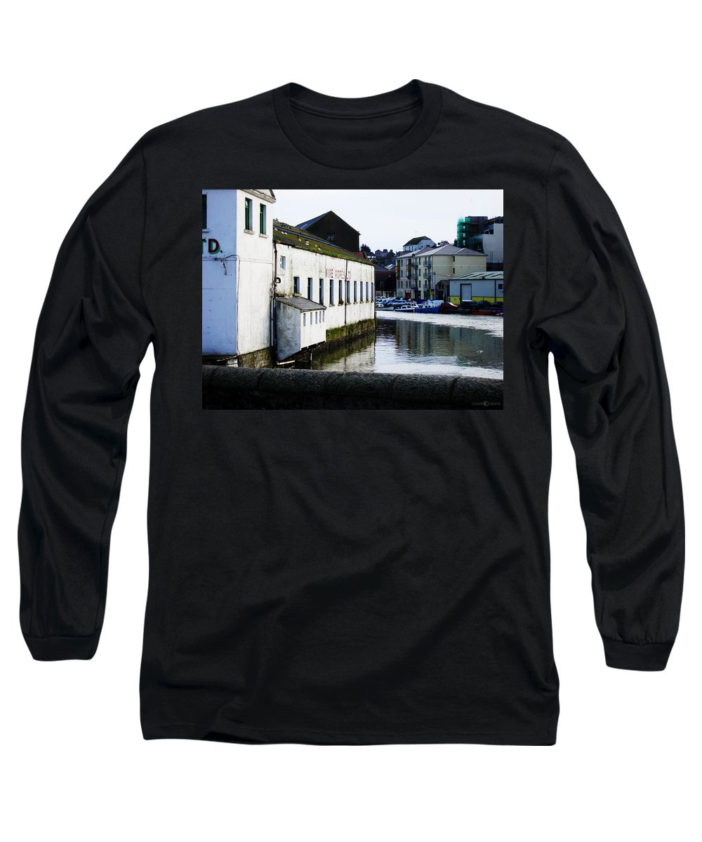 River Long Sleeve T-Shirt featuring the photograph Waterfront Factory by Tim Nyberg