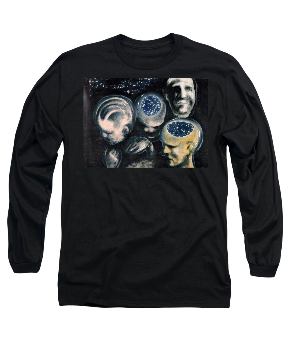 Universe Aura Thoughts Thinking Faces Mistery Long Sleeve T-Shirt featuring the mixed media We Are Universe by Veronica Jackson