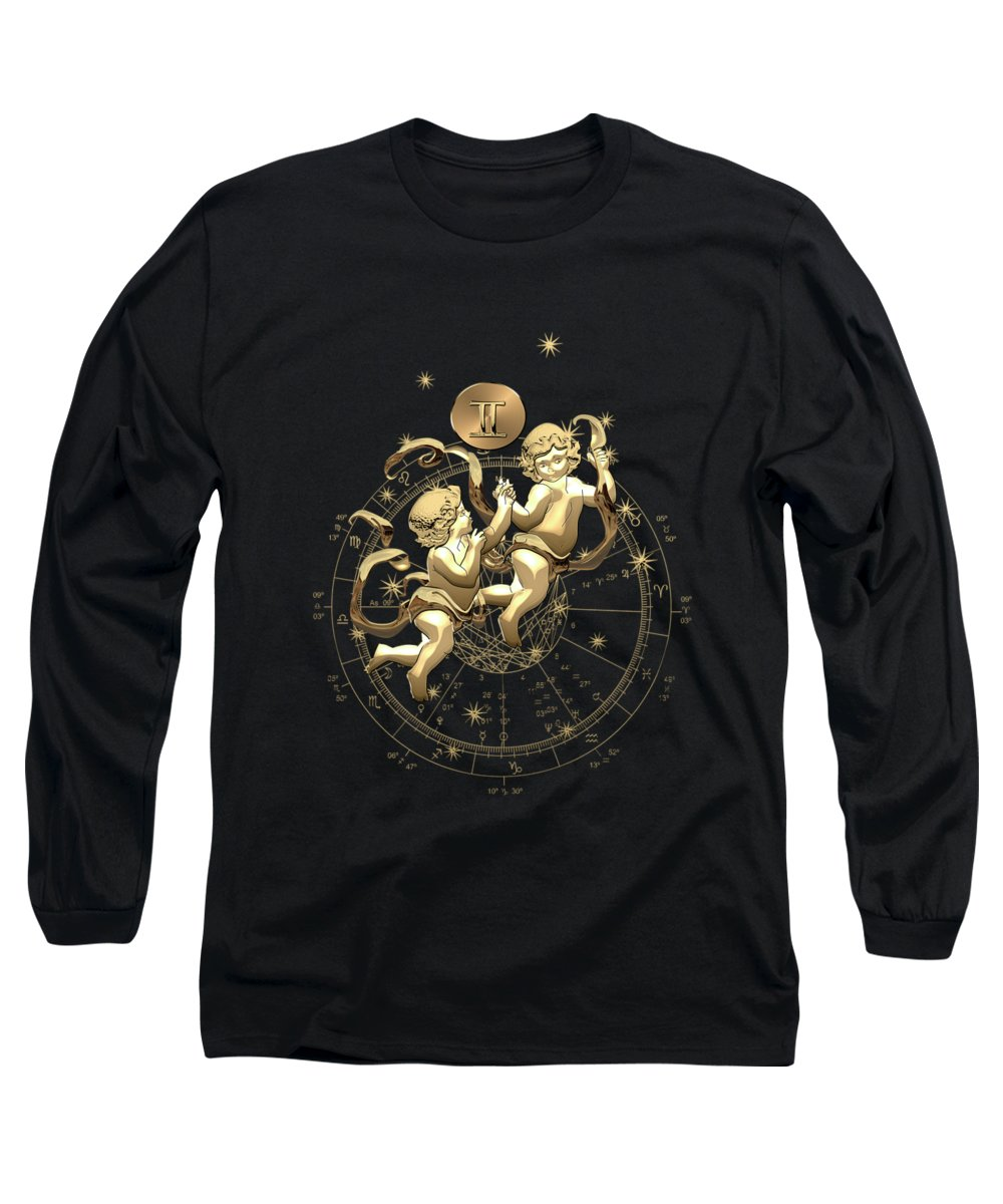 'zodiac' Collection By Serge Averbukh Long Sleeve T-Shirt featuring the digital art Western Zodiac - Golden Gemini - The Twins On Black Canvas by Serge Averbukh