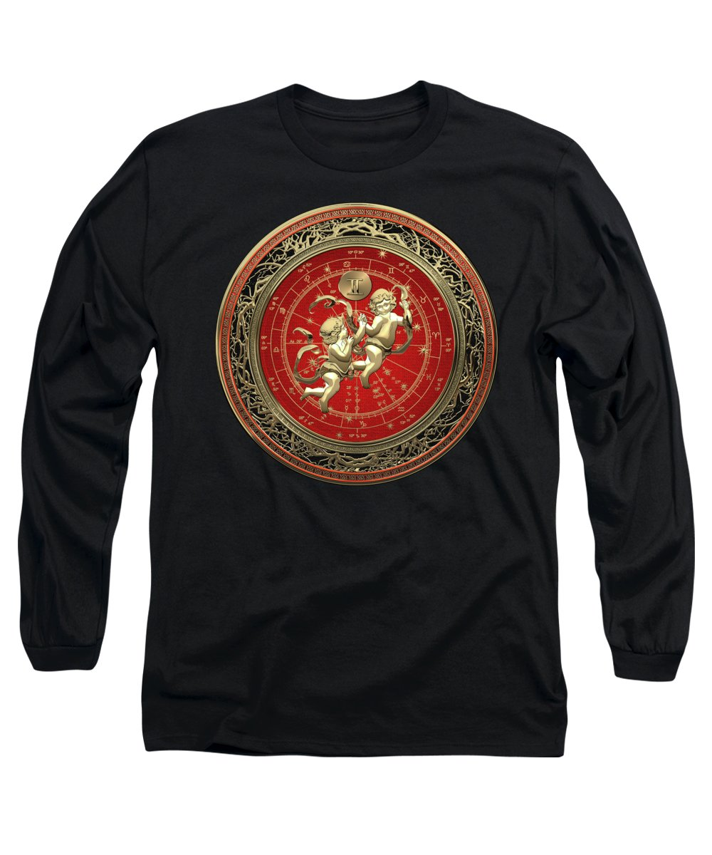 'zodiac' Collection By Serge Averbukh Long Sleeve T-Shirt featuring the digital art Western Zodiac - Golden Gemini - The Twins On Black Velvet by Serge Averbukh