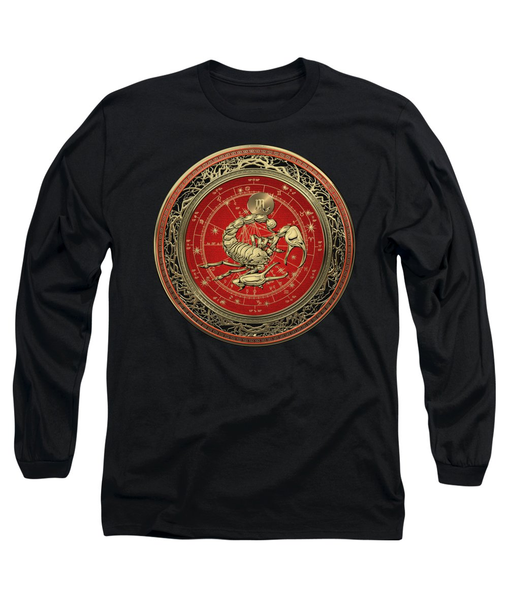 'zodiac' Collection By Serge Averbukh Long Sleeve T-Shirt featuring the digital art Western Zodiac - Golden Scorpio - The Scorpion On Black Velvet by Serge Averbukh