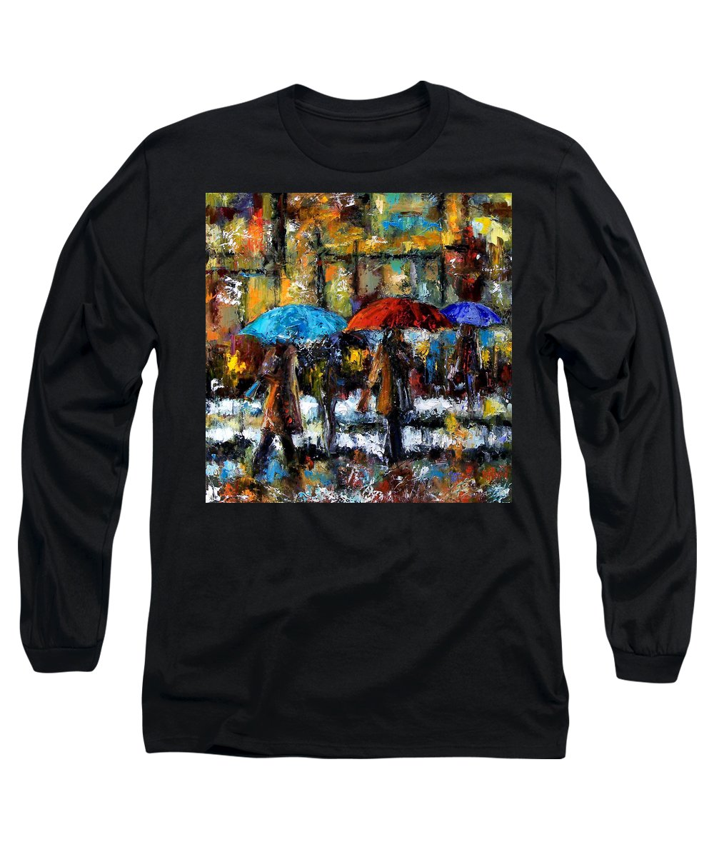 Rainy City Art Long Sleeve T-Shirt featuring the painting Wet Winter Day by Debra Hurd