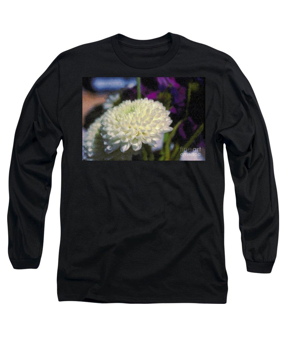 White Chrysanthemum Flower Beautiful Mum Long Sleeve T-Shirt featuring the photograph White Chrysanthemum Flower by David Zanzinger